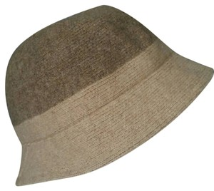 100% Wool Taupe and Cream Chapeau Hat