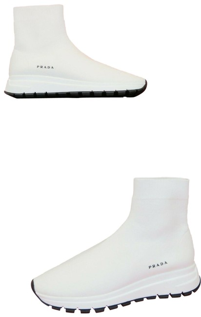 Item - White 1t715l Knitted Sock Platform Logo Ankle Sneakers Size EU 39 (Approx. US 9) Regular (M, B)