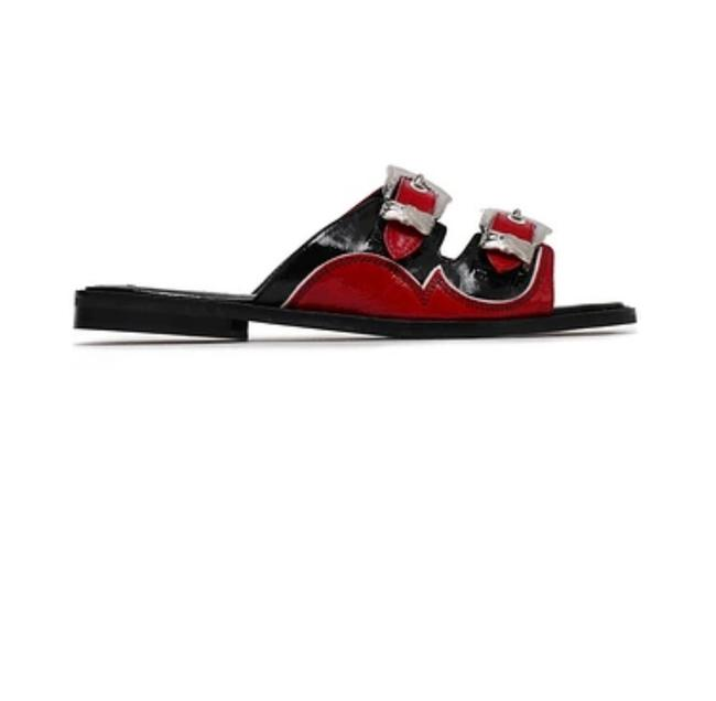 Item - Black Red Moon Bucked Crinkled Patent-leather Slides Sandals Size EU 38 (Approx. US 8) Wide (C, D)