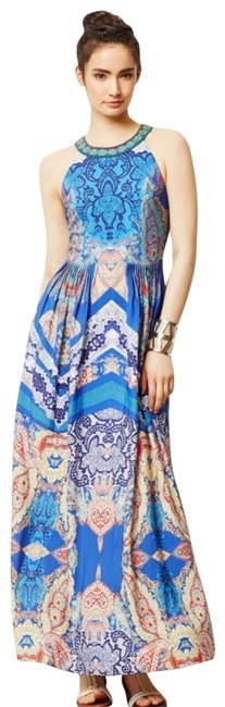 Item - Multicolor 'boteh' Crepe Print Embellished Banded Neck Pintuck Long Casual Maxi Dress Size 4 (S)