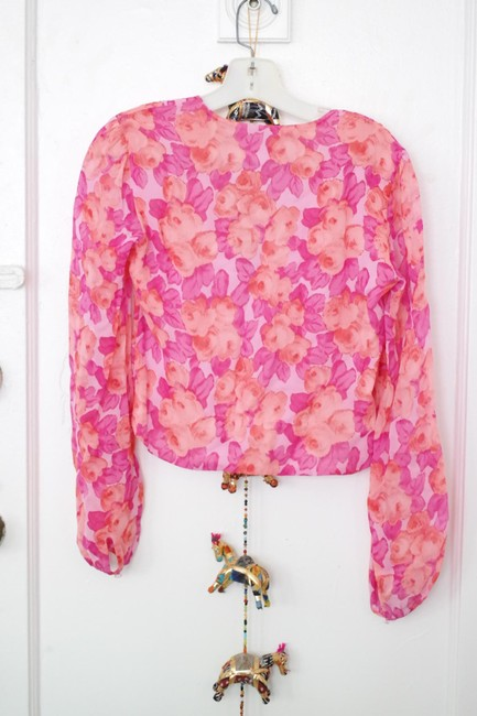 Juleh Summer Shirt Summer Floral Girly Girly Floral Silk Silk Floral Top pink