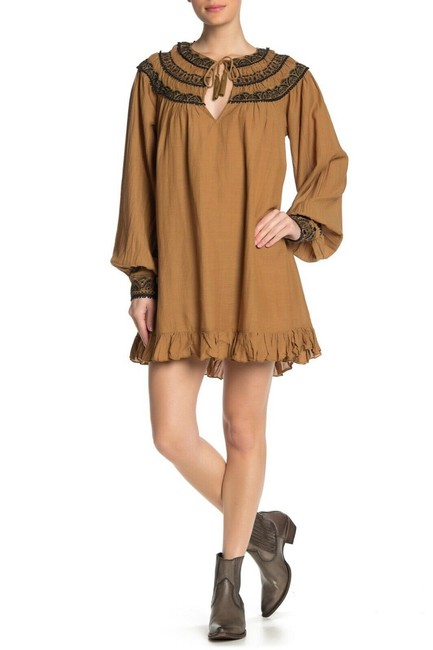 Item - Brown Erin Embroidered Long Sleeve Mini Dress/Tunic Tunic Size 4 (S)