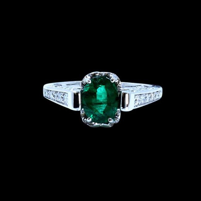 Item - Green 1.66ct Natural Colombian Emerald 14k White Gold Ring