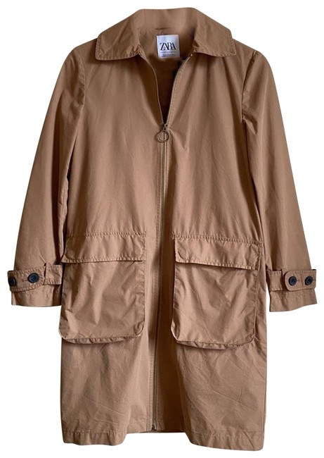 Item - Brown S O-ring Full Zip Patch Pocket Collared Jacket Coat Size 2 (XS)