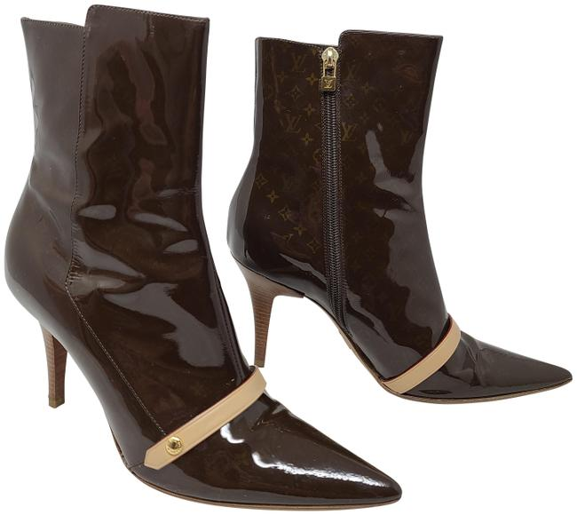 Item - Brown Patent Leather Lv Monogram Ankle Boots/Booties Size EU 39 (Approx. US 9) Regular (M, B)