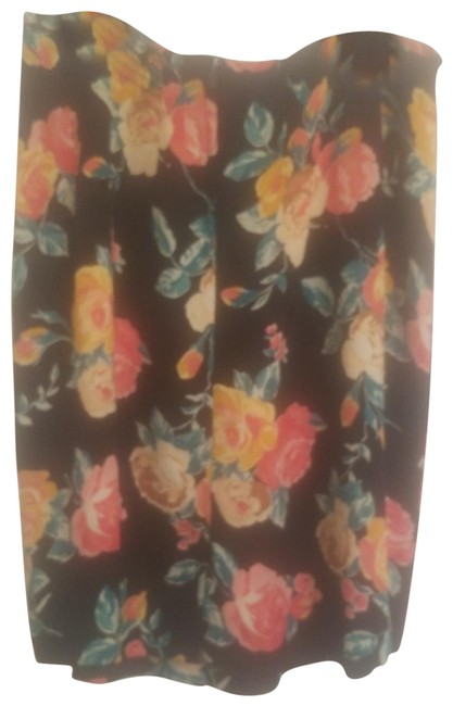 Item - Black with Vibrant Floral Stylized Print Gathered Skirt Size 14 (L, 34)