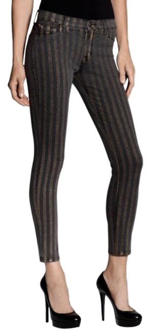 Item - Black Gold Striped Nico Skinny Jeans Size 30 (6, M)