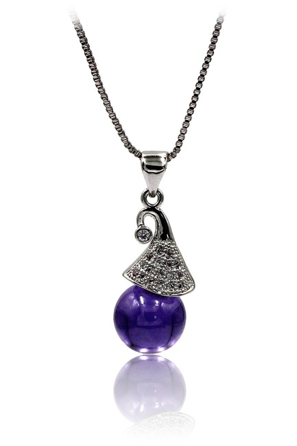 Item - Purple Wizard Hat Crystal Silver Necklace