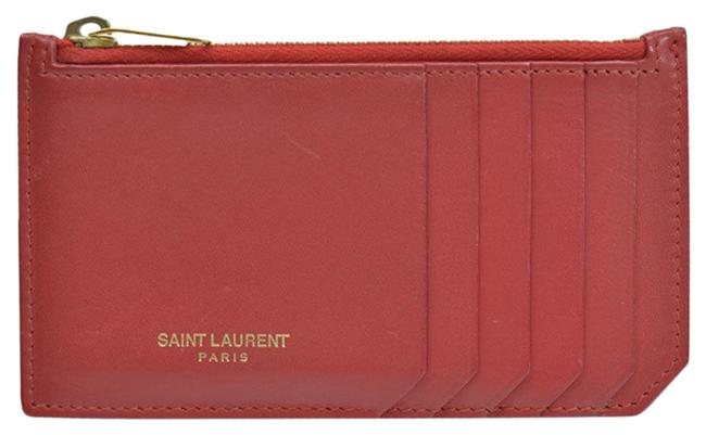 Item - Red Color Coin Case Gold Leather Card Ladies Wallet