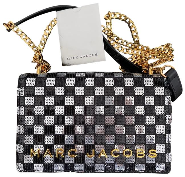 Item - Crossbody Sequined Mini Black and White Leather Clutch