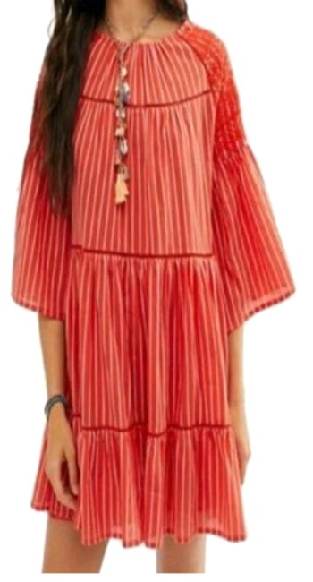 Item - Coral Orange Lola Embroidered Boho Mini New with Tags Short Casual Dress Size 6 (S)
