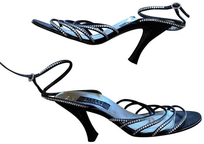Item - Black Crystal Strappy Satin Heels Formal Shoes Size US 7 Regular (M, B)