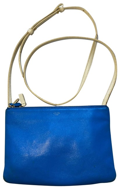 Item - Trio Blue and White Leather Cross Body Bag