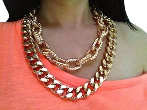 See Jewelry Double Link Chain Necklace, Rose Gold