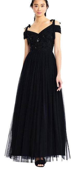 Item - Black Gown with Bow Straps Beaded Bodice Long Formal Dress Size 10 (M)