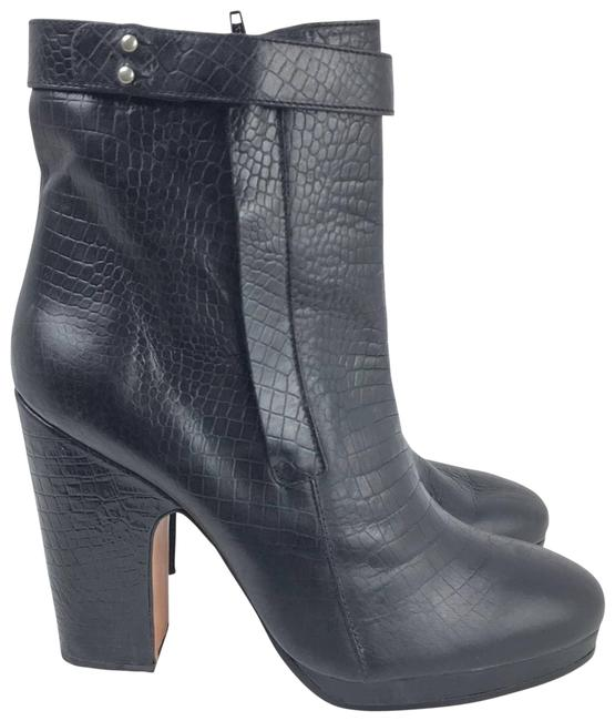 Item - Black Leather Embossed Heeled Ankle Made In Peru Boots/Booties Size US 9 Regular (M, B)