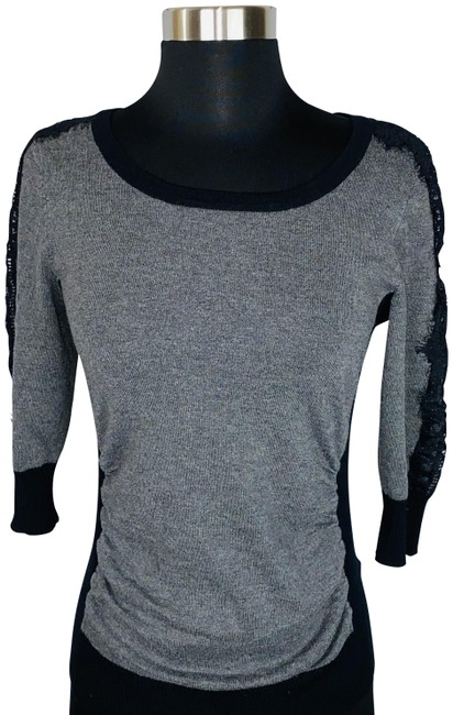 Item - Gray Ruched with Black Lace Trim Blouse Size 8 (M)