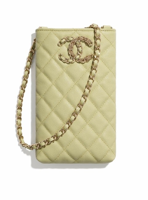 Item - Quilted Caviar Phone Holder with Chain Lime Green Leather Cross Body Bag