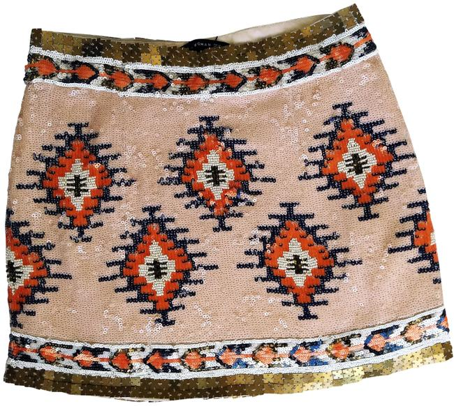Item - Pink Gold Blue Sequinned Skirt Size 2 (XS, 26)