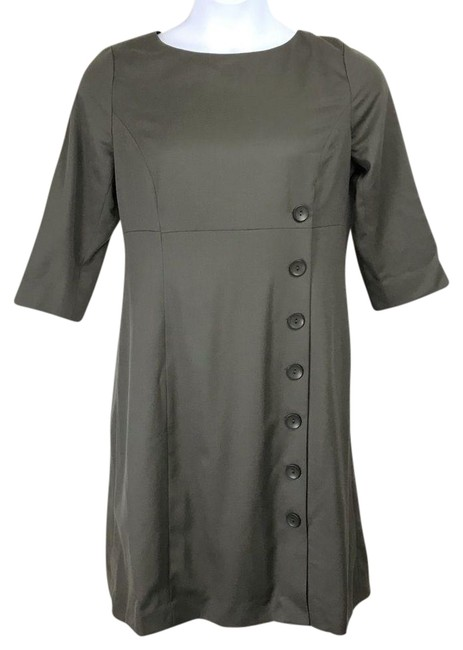 Item - Green 100%virgin Wool Army Mid-length Short Casual Dress Size 12 (L)
