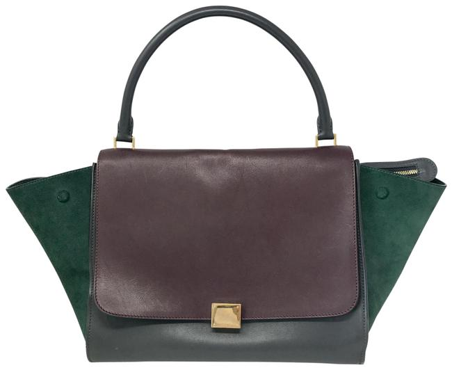 Item - Trapeze Tri Color Large Burgundy / Green / Grey Leather Tote