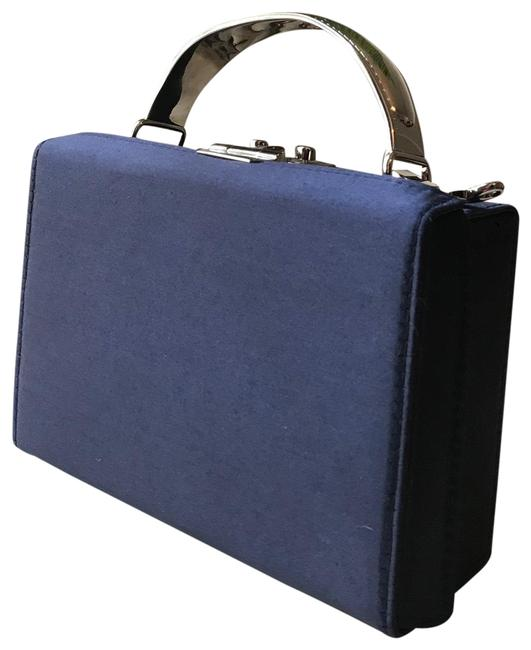Item - Box Mini Navy Blue Satin Cross Body Bag