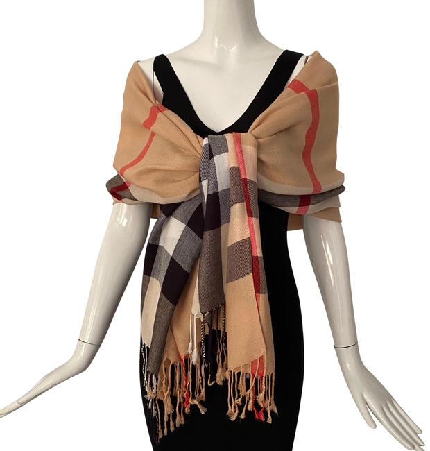 Item - Beige Black Red Burberry Check Pattern Scarf/Wrap