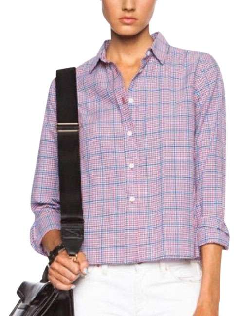 Item - Red Blue Cropped and Boxy Shirt Checked Button-down Top Size 4 (S)