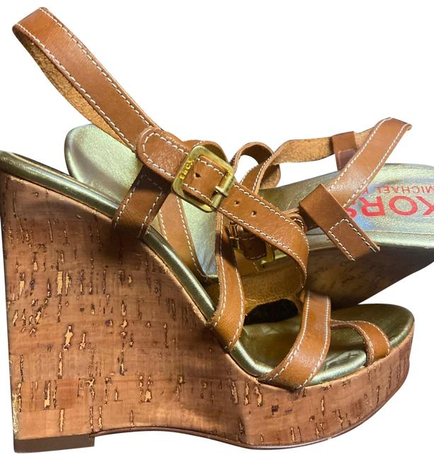 Item - Brown/Gold/Nude Made In Italy Wedges Size US 6.5 Regular (M, B)