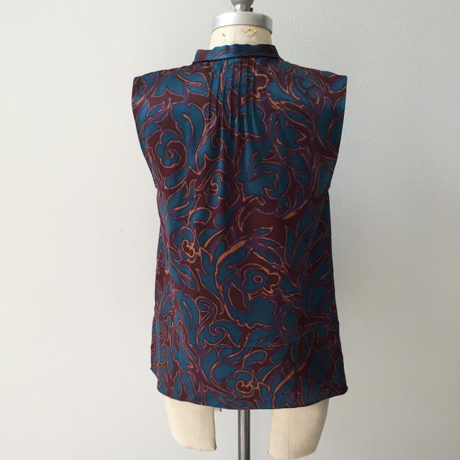 Marc by Marc Jacobs Silk Bib Oxblood Top Teal mixed print