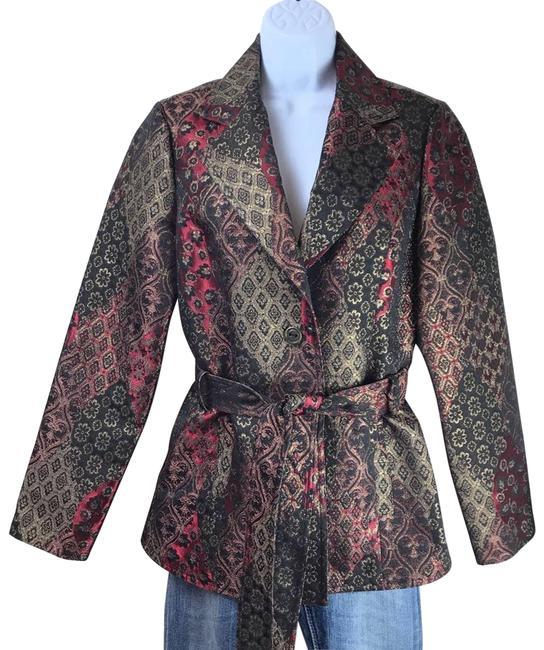 Item - Gold Textured Brocade Jacket Belted Lined Blazer Size 6 (S)