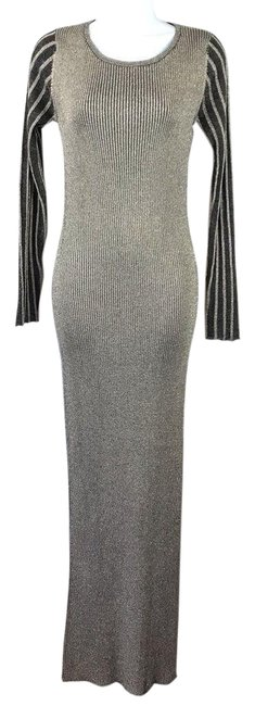 Item - Gold Ribbed Maxi Long Night Out Dress Size 6 (S)