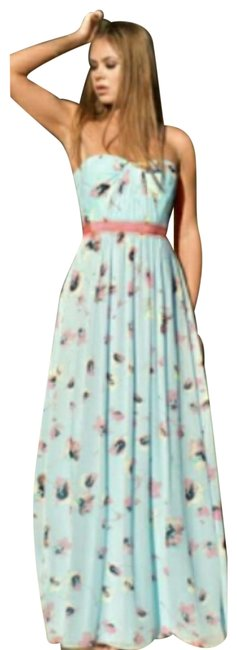 Item - Pink and Purple Floral Strapless Long Casual Maxi Dress Size 8 (M)