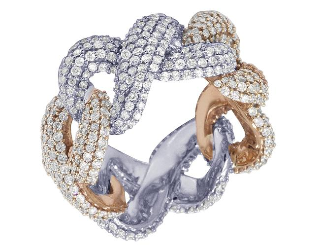 Item - 10k Two Tone White/Rose Gold Infinity Eternity Real Diamond 7.15ct Size 10.5 Ring