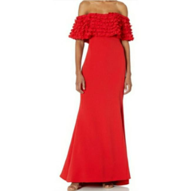 Item - Red Petal Detail Off Shoulder Gown Long Casual Maxi Dress Size 0 (XS)