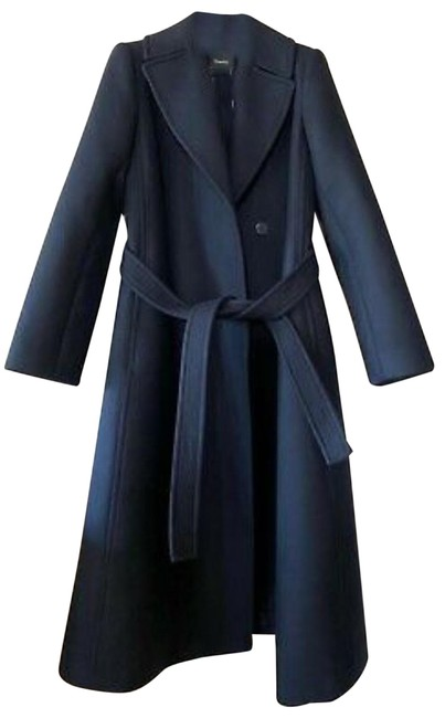 Item - Blue Perfect Belted Wool Blend Coat Size 2 (XS)