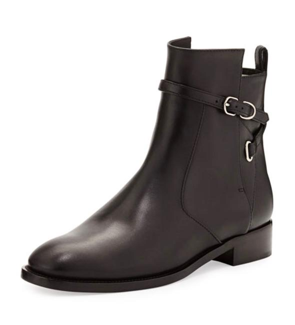 Item - Black Ankle Strap Flat Ankle Leather Boots/Booties Size EU 38.5 (Approx. US 8.5) Regular (M, B)