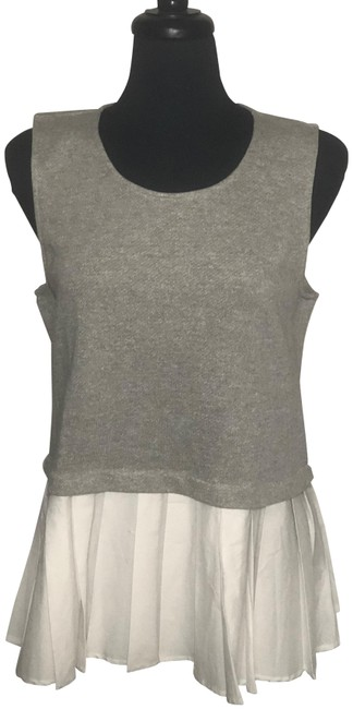 Item - Grey/White Brooklyn Sunday In Sleeveless Tank Top/Cami Size 16 (XL, Plus 0x)