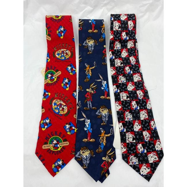 Item - Blue Red White New Lot Of 3 Neck Looney Tunes Msrp Tie/Bowtie