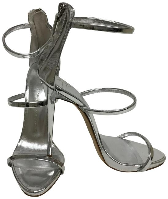 Item - Silver Strappy with Back Zipper Closure Sandals Size EU 39 (Approx. US 9) Regular (M, B)