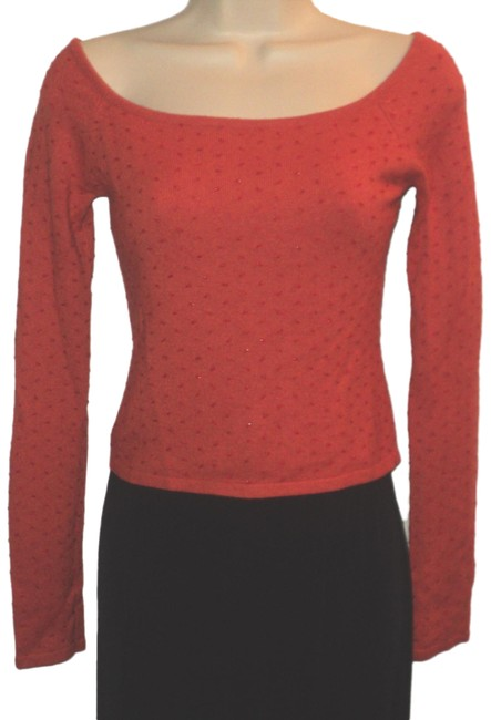 Item - Silk/Cashmere Covered with Bugle Beads Boat Neck Cropped Dark Salmon Sweater
