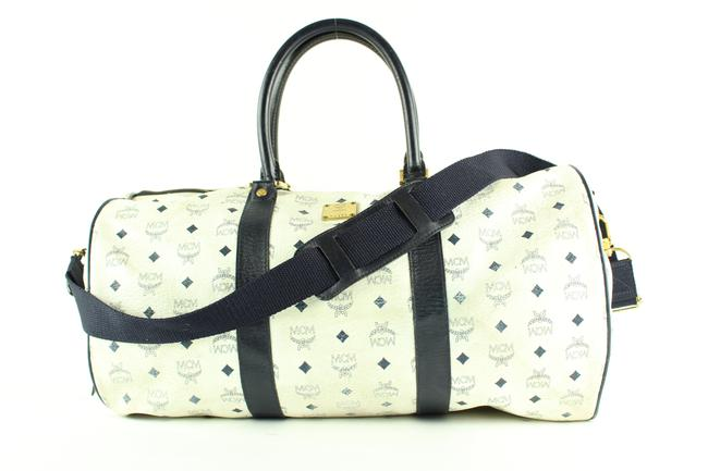 Item - Duffle Monogram Visetos Boston with Strap 4mcm124 White Coated Canvas Weekend/Travel Bag