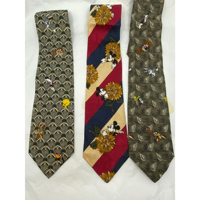Item - Olive Green Red New Lot Of 3 Neck Looney Tunes Msrp Tie/Bowtie