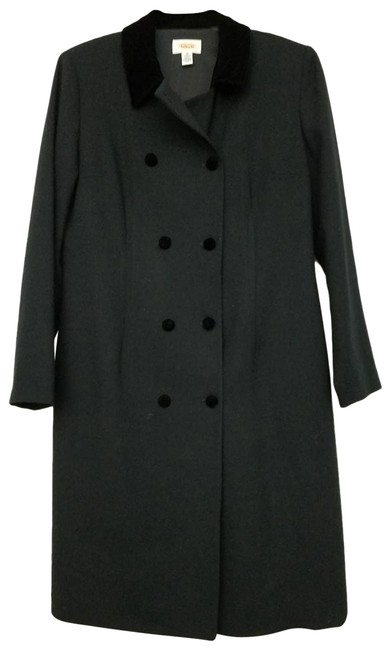 Item - Black Double Breasted Wool Long Velour Collar Coat Size 10 (M)