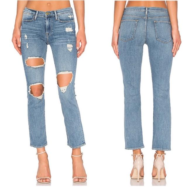 Item - Blue Distressed Le High Le Debs Straight Leg Jeans Size 4 (S, 27)