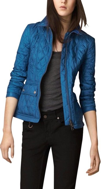 Item - Blue Womens Quilted Check Coat Jacket Size 14 (L)