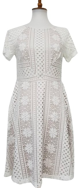 Item - Cream Striped Lace Fit & Flare Ivory Mid-length Cocktail Dress Size 6 (S)