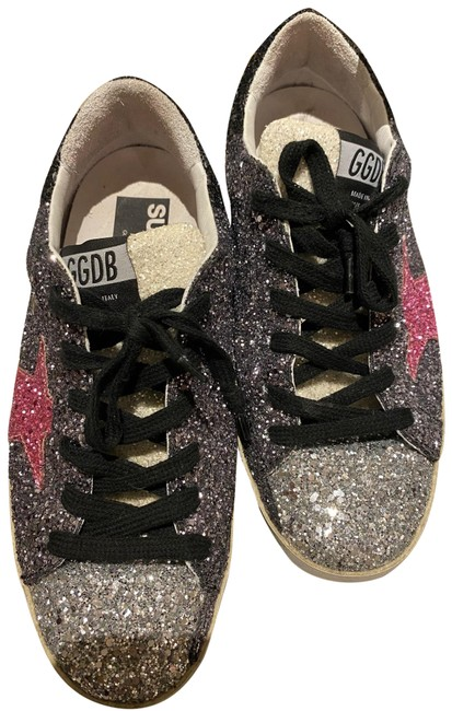 Item - Black Silver Pink and White Superstar Colored Glitter Sneakers Size EU 37 (Approx. US 7) Regular (M, B)