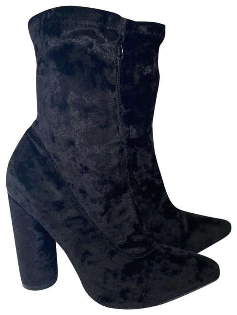 Item - Black Crushed Velvet By Boots/Booties Size US 6.5 Regular (M, B)