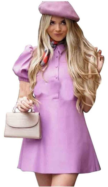 Item - Purple Faux Leather Flared Mini Lilac Short Casual Dress Size 6 (S)